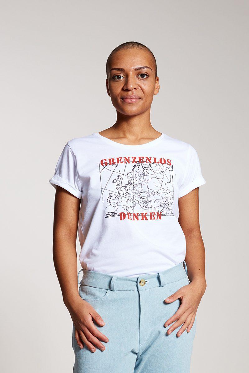 GRENZENLOS DENKEN - Damenshirt von Elternhaus, fair fashion made in Hamburg